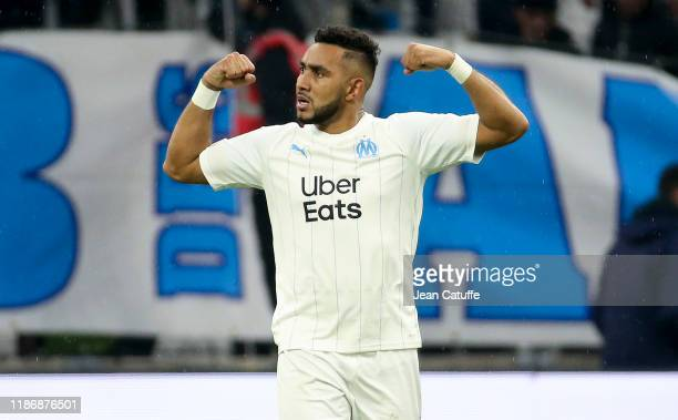 Dimitri Payet of Marseille celebrates his goal during the Ligue 1 match between Olympique de Marseille and Olympique Lyonnais at Stade Velodrome on...