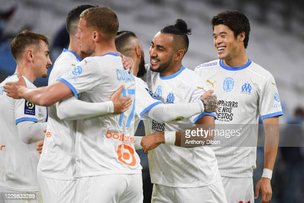Dimitri PAYET of Marseille celebrates his goal during the Ligue 1 match between Olympique Marseille and FC Nantes at Stade Velodrome on November 28,...