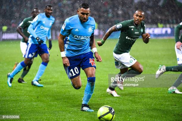 Dimitri Payet of Marseille during the Ligue 1 match between AS SaintEtienne and Olympique Marseille at Stade GeoffroyGuichard on February 9 2018 in...