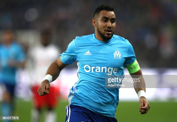 Dimitri Payet of Marseille in action during the UEFA Europa Semi Final Second leg match between FC Red Bull Salzburg and Olympique de Marseille at...