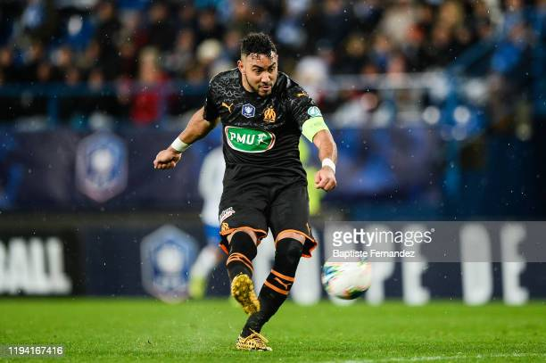 Dimitri PAYET of Marseille scores his goal during the French Cup Soccer match between US Granville and Olympique de Marseille at Stade Michel...