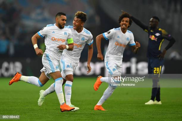 Dimitri Payet of Olympique Marseille celebrates a goal with team mates during the UEFA Europa League quarter final leg two match between Olympique...