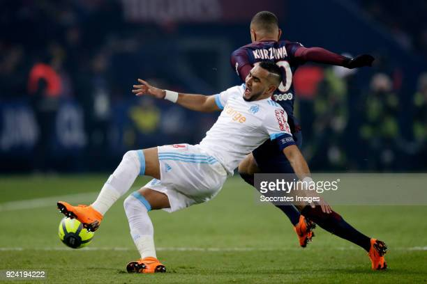 Dimitri Payet of Olympique Marseille Layvin Kurzawa of Paris Saint Germain during the French League 1 match between Paris Saint Germain v Olympique...