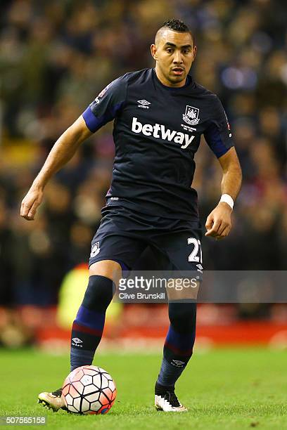 Dimitri Payet of West Ham controls the ball during the Emirates FA Cup Fourth Round match between Liverpool and West Ham United at Anfield on January...