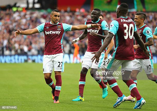 Dimitri Payet of West Ham United and Michail Antonio of West Ham United celebrates scoring his sides second goal together during the Premier League...