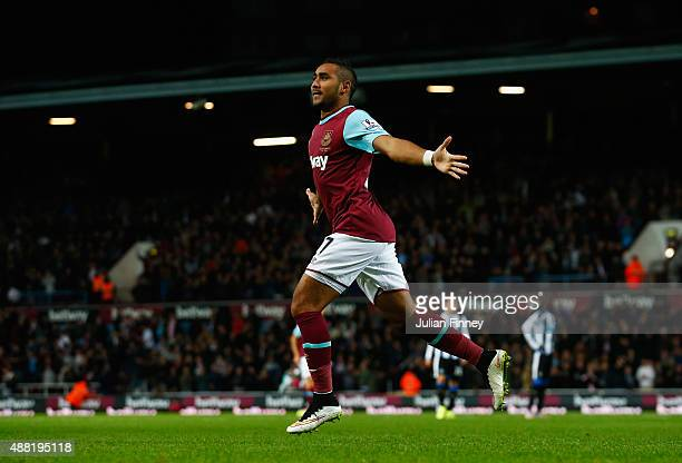 Dimitri Payet of West Ham United celebrates scoring his second goal during the Barclays Premier League match between West Ham United and Newcastle...