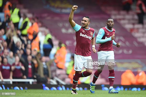 Dimitri Payet of West Ham United celebrates scoring his team's second goal during the Barclays Premier League match between West Ham United and...