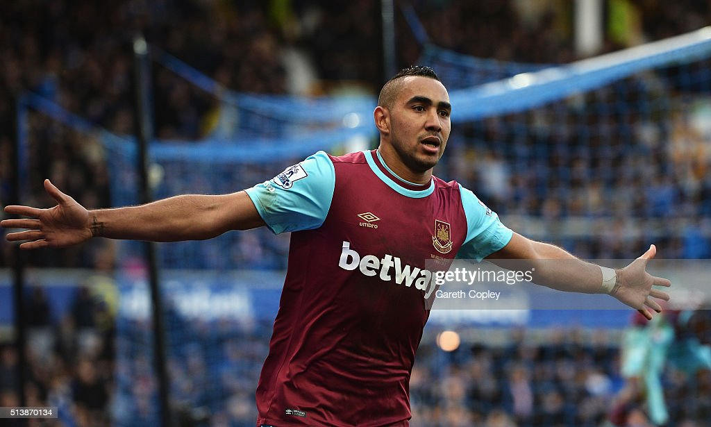 Dimitri Payet of West Ham United celebrates scoring his team's third goal during the Barclays Premier League match between Everton and West Ham United at Goodison Park on March 5, 2016 in Liverpool, England.