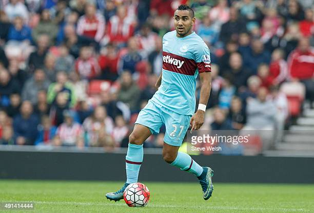 Dimitri Payet of West Ham United during the Barclays Premier League match between Sunderland and West Ham United at the Stadium of Light on October 3...