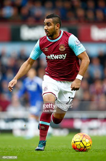 Dimitri Payet of West Ham United during the Barclays Premier League match between West Ham United and Chelsea at Boleyn Ground on October 24 2015 in...