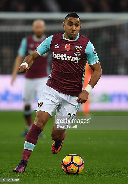 Dimitri Payet of West Ham United during the Premier League match between West Ham United and Stoke City at Olympic Stadium on November 5 2016 in...
