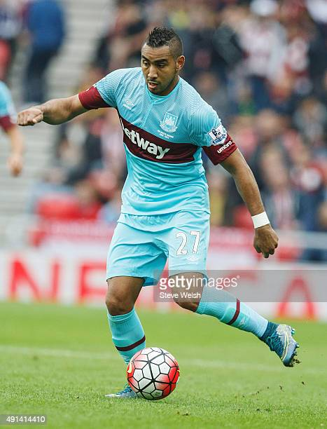 Dimitri Payet of West Ham United in action during the Barclays Premier League match between Sunderland and West Ham United at the Stadium of Light on...