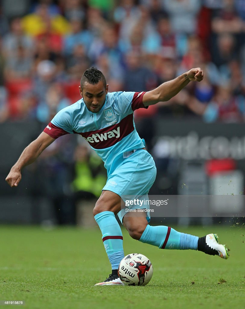 Dimitri Payet of West Ham United in action during the pre season friendly match between Charlton Athletic and West Ham United at the Valley on July 25, 2015 in London, England.