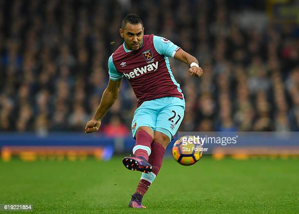 Dimitri Payet of West Ham United passes the ball during the Premier League match between Everton and West Ham United at Goodison Park on October 30...