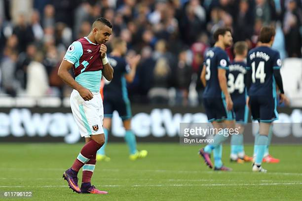 Dimitri Payet of West Ham United reacts to the final whistle during the Premier League match between West Ham United and Middlesbrough at London...