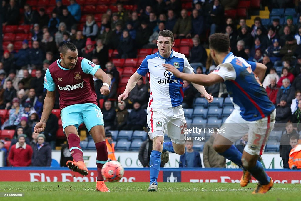 Dimitri Payet of West Ham United scores his team's fifth goal during The Emirates FA Cup fifth round match between Blackburn Rovers and West Ham United at Ewood park on February 21, 2016 in Blackburn, England.