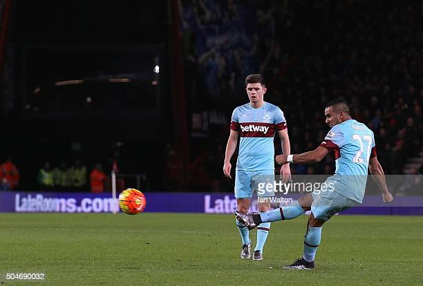 Dimitri Payet of West Ham United scores their first and equalising goal from a free kick during the Barclays Premier League match between AFC...
