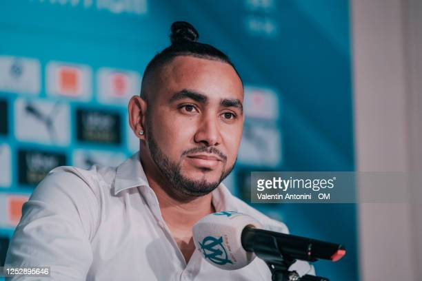 Dimitri Payet speaks during an Olympique de Marseille press conference at Centre Robert-Louis Dreyfus on June 27, 2020 in Marseille, France.
