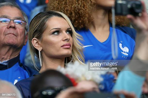 Dimitri Payet's wife Ludivine Payet looks on during the UEFA EURO 2016 Group A match between Switzerland and France at Stade PierreMauroy on June 19...