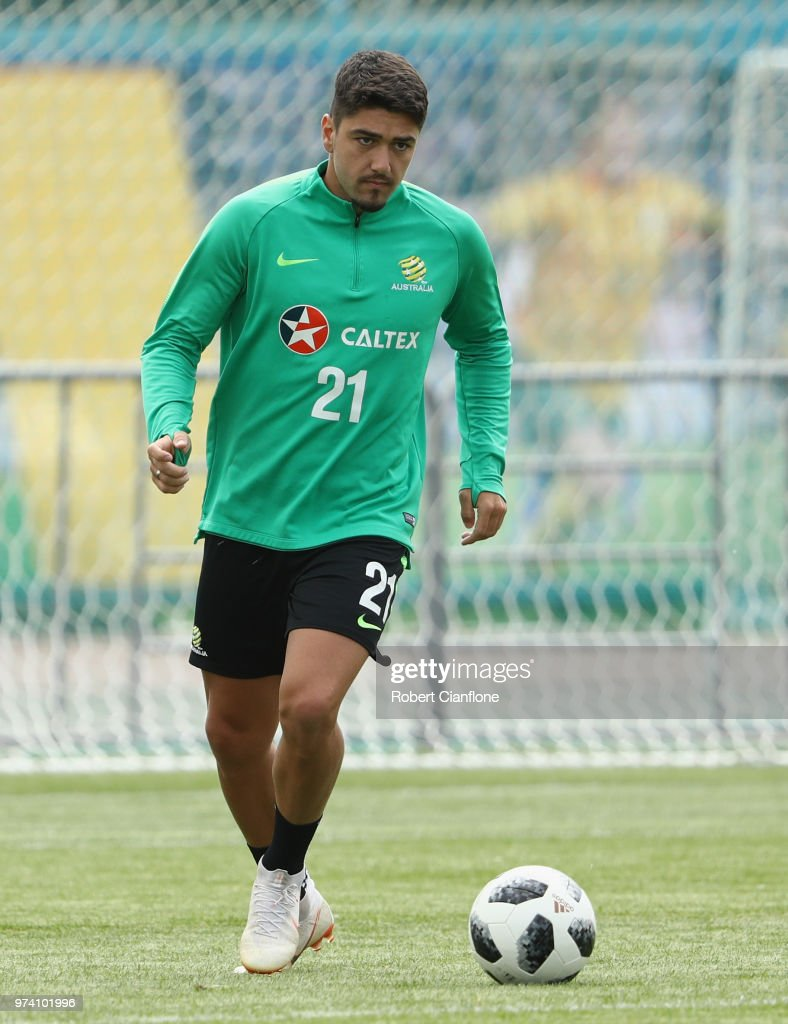 Dimitri Petratos of Australia runs with the ball during an Australia Socceroos training session ahead of the FIFA World Cup 2018 at Stadium Trudovye Rezervy on June 14, 2018 in Kazan, Russia.