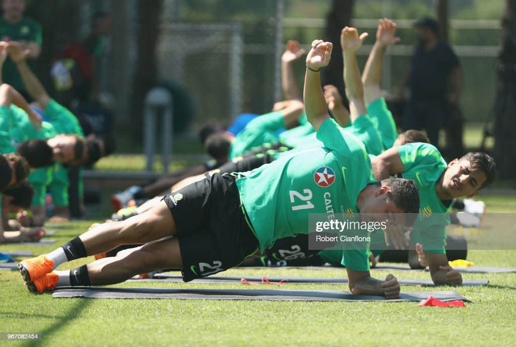 Dimitri Petratos of Australia stretches during the Australian Socceroos Training Session at the Gloria Football Club on June 4, 2018 in Antalya, Turkey.