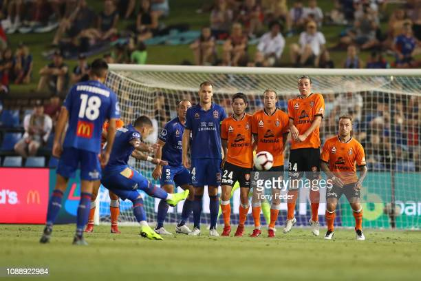 Dimitri Petratos of Newcastle Jets takes a free kick during the round 12 A-League match between the Newcastle Jets and the Brisbane Roar at McDonald...
