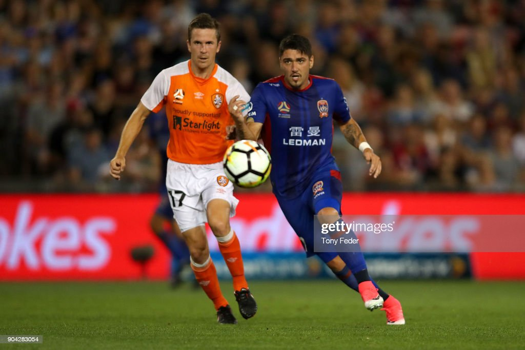 Dimitri Petratos of the Jets and Matthew McKay of the Roar to contest the ball during the round 16 A-League match between the Newcastle Jets and the Brisbane Roar at McDonald Jones Stadium on January 12, 2018 in Newcastle, Australia.