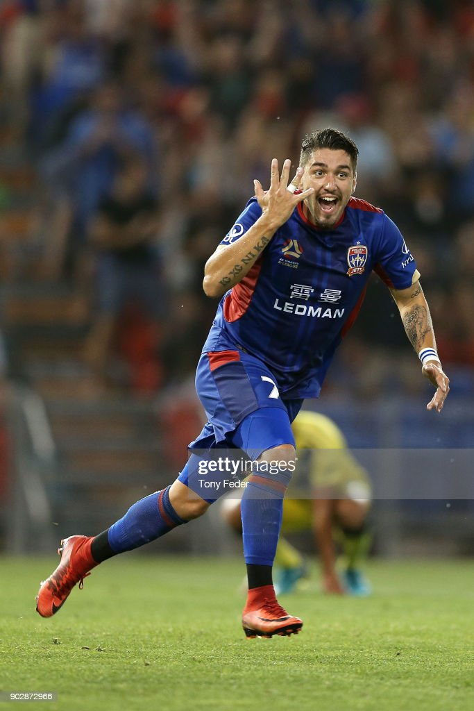 Dimitri Petratos of the Jets celebrates a goal during the round 15 A-League match between the Newcastle Jets and the Central Coast Mariners at McDonald Jones Stadium on January 9, 2018 in Newcastle, Australia.