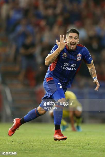 Dimitri Petratos of the Jets celebrates a goal during the round 15 ALeague match between the Newcastle Jets and the Central Coast Mariners at...