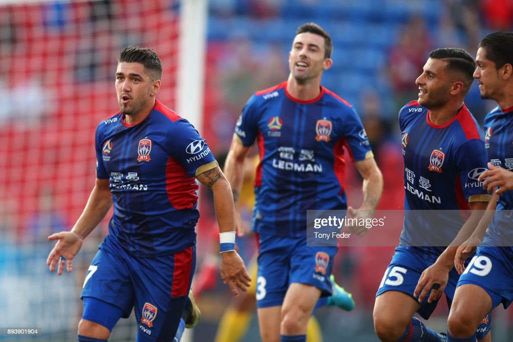 Dimitri Petratos of the Jets celebrates after scoring a goal during the round 11 A-League match between the Newcastle Jets and the Adelaide United at McDonald Jones Stadium on December 16, 2017 in Newcastle, Australia.