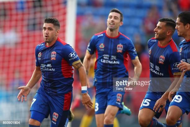 Dimitri Petratos of the Jets celebrates after scoring a goal during the round 11 ALeague match between the Newcastle Jets and the Adelaide United at...