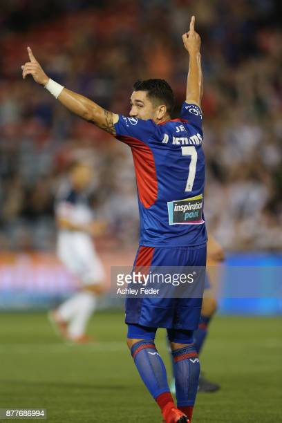Dimitri Petratos of the Jets celebrates his goal during the round eight ALeague match between the Newcastle Jets and the Melbourne Victory at...