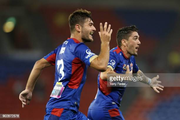 Dimitri Petratos of the Jets celebrates with team mate Ivan Vujica during the round 15 ALeague match between the Newcastle Jets and the Central Coast...
