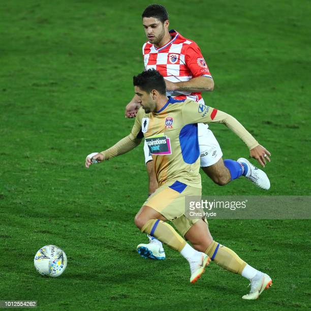 Dimitri Petratos of the Jets controls the ball during the FFA Cup round of 32 match between Gold Coast Knights and Newcastle Jets at Cbus Stadium on...