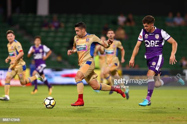 Dimitri Petratos of the Jets controls the ball during the round 10 ALeague match between the Perth Glory and the Newcastle Jets at nib Stadium on...