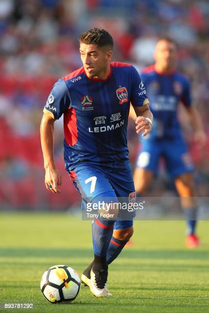 Dimitri Petratos of the Jets controls the ball during the round 11 ALeague match between the Newcastle Jets and the Adelaide United at McDonald Jones...