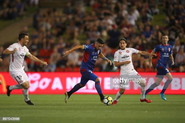 Dimitri Petratos of the Jets controls the ball during the round 12 ALeague match between the Newcastle Jets and the Western Sydney Wanderers at...