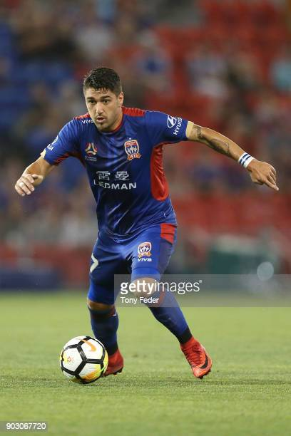 Dimitri Petratos of the Jets controls the ball during the round 15 ALeague match between the Newcastle Jets and the Central Coast Mariners at...