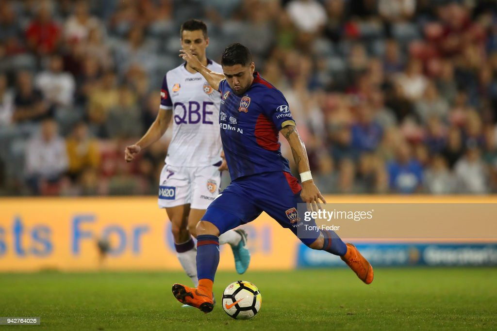 Dimitri Petratos of the Jets controls the ball during the round 26 A-League match between the Newcastle Jets and the Perth Glory at McDonald Jones Stadium on April 6, 2018 in Newcastle, Australia.