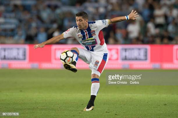 Dimitri Petratos of the Jets controls the ball during the round fourteen ALeague match between the Sydney FC and Newcastle Jets FC at Allianz Stadium...