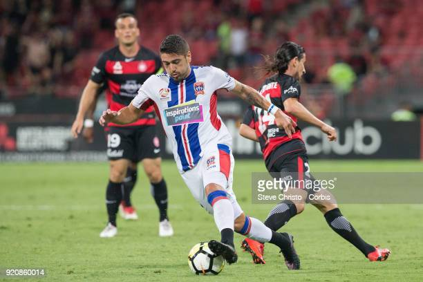 Dimitri Petratos of the Jets dribbles the ball during the round one ALeague match between the Western Sydney Wanderers and the Newcastle Jets at...