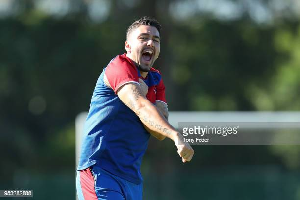 Dimitri Petratos of the Jets during a Newcastle Jets ALeague training session at Ray Watt Oval on May 1 2018 in Newcastle Australia