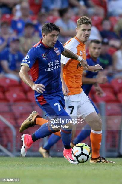 Dimitri Petratos of the Jets in action during the round 16 ALeague match between the Newcastle Jets and the Brisbane Roar at McDonald Jones Stadium...