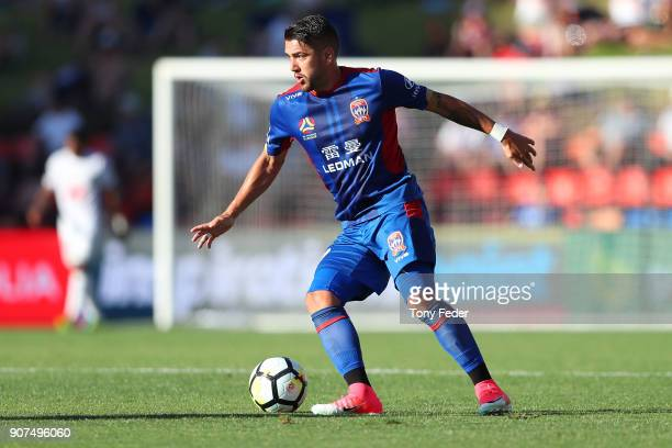 Dimitri Petratos of the Jets in action during the round 17 ALeague match between the Newcastle Jets and Wellington Phoenix at McDonald Jones Stadium...