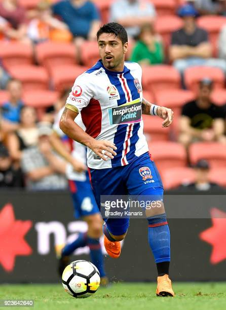 Dimitri Petratos of the Jets in action during the round 21 ALeague match between the Brisbane Roar and the Newcastle Jets at Suncorp Stadium on...