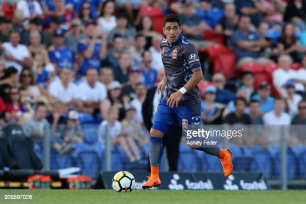 Dimitri Petratos of the Jets in action during the round 22 ALeague match between the Newcastle Jets and Sydney FC at McDonald Jones Stadium on March...