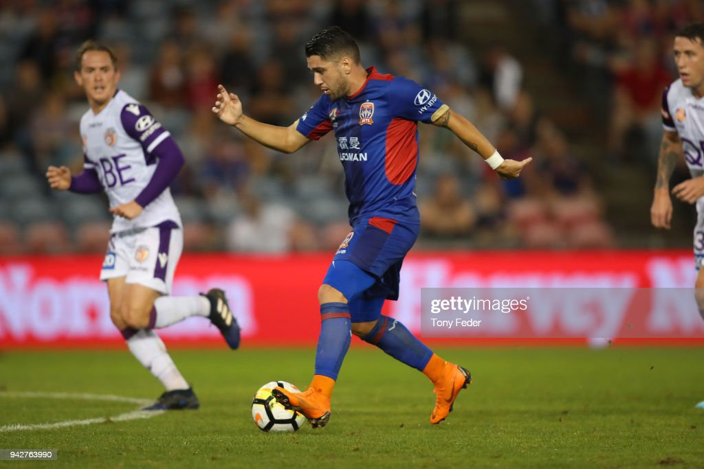 Dimitri Petratos of the Jets in action during the round 26 A-League match between the Newcastle Jets and the Perth Glory at McDonald Jones Stadium on April 6, 2018 in Newcastle, Australia.
