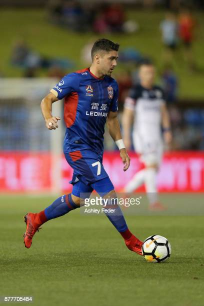 Dimitri Petratos of the Jets in action during the round eight ALeague match between the Newcastle Jets and the Melbourne Victory at McDonald Jones...
