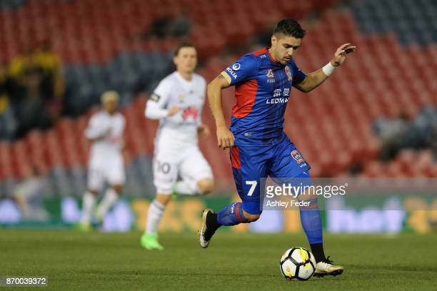 Dimitri Petratos of the Jets in action during the round five ALeague match between the Newcastle Jets and the Wellington Phoenix at McDonald Jones...
