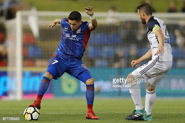 Dimitri Petratos of the Jets in action of the Victory during the round eight ALeague match between the Newcastle Jets and the Melbourne Victory at...